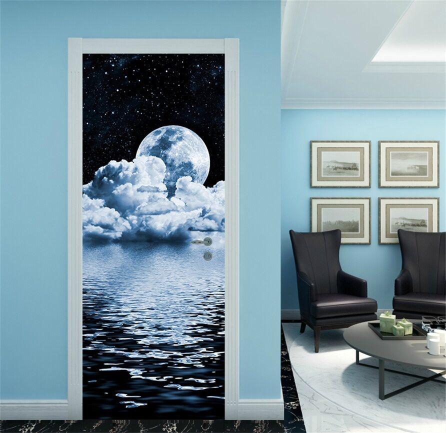 3D Mondschein 6 Tür Mauer Wandgemälde Foto Wandaufkleber AJ WALL DE Lemon