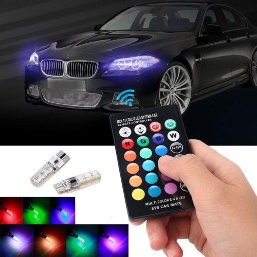 2x T10 W5W 5050 6SMD RGB LED Multi Color Light Car Wedge Bulbs W// Remote Control
