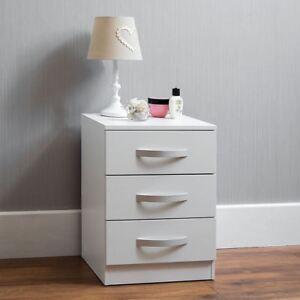 Hulio high gloss chest of drawers white 3 drawer metal for Maniglie per mobili camera da letto