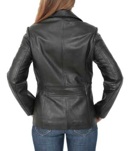 Blazer Hip New Leather Black Length Jacket Fitted Womens Classic Coat Ladies 5ngWqBfx