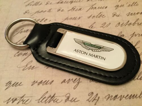 ASTON MARTIN Black Real Leather Keyring  Printed resin coated DB 7 8 9 11 V12
