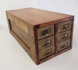 Image Is Loading Antique Vintage Oak 6 Drawer Card Library File