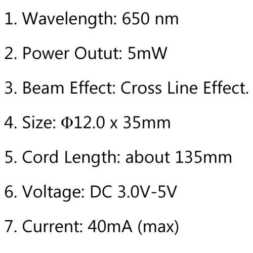 5mW 650nm Red Cross Line Laser Module Focus Adjustable Focusable Laser Head