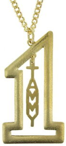 Vintage-Gold-Tone-Number-1-Name-Plate-Pendant-2-1-2-034-Necklace-22-034-Tammy