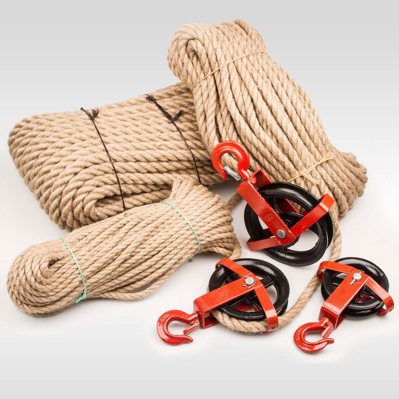 SET: 12mm JUTESEIL + UMLENKROLLE mit Haken Tauwerk Seilwinde Seilzug Seil