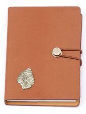 Indian Headress Design Emblem Notebook A6 Leather Effect Re-enactment Gift