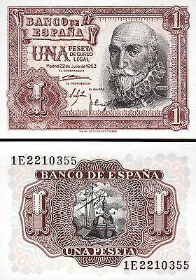 SPAIN 1 PESETA 1953 P 144 UNC