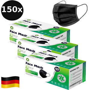 150 Masken Einwegmaske SCHWARZ Mundschutz 3-lagig OP Maske Hygiene Schutzmaske