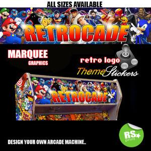 Retrocade-Arcade-Artwork-MARQUEE-Autocollants-Graphique-Lamine-Toutes-Tailles