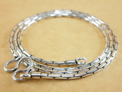 """925 Sterling Silver Beading Crimpable Boston Link Snake Chain Necklace 1.5mm 17/"""""""