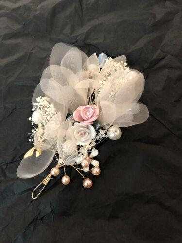 Mini Bridesmaid Bridal Wedding Ivory Net Pink /& White Rose Hair Vine Piece Tiara