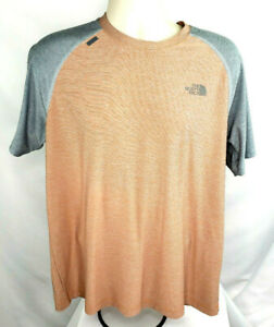 The-North-Face-Short-Sleeve-Flash-Dry-Tee-Shirt-Mens-L-Orange-Gray-EUC