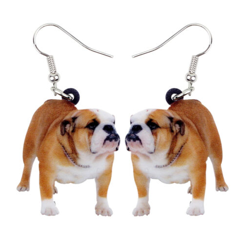 Acrylic British Bulldog Dog Earrings Drop Dangle Pets Jewelry For Women Kid Gift