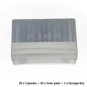 30Pcs Round 46mm Direct Fit Airtight Coin Capsules Holder Display Collection Box