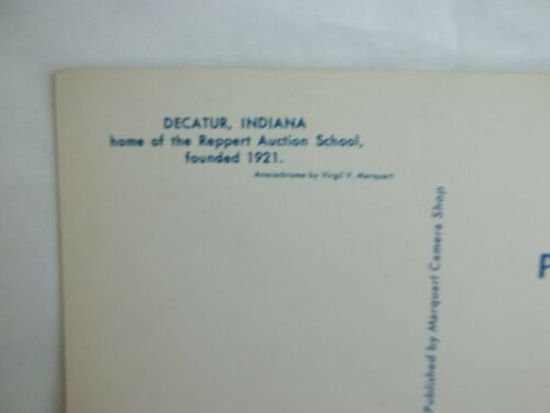Founded 1921 Decatur Indiana Reppert Auction School UNUSED Vintage Postcard