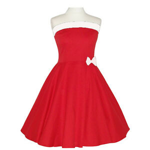 Rockabilly 50er Neckholder Kleid Petticoat Pin Up Party Baumwolle X