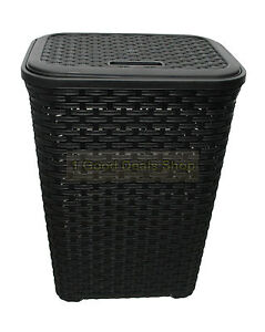 Plastic woven rattan style 60l laundry basket hamper storage box bin gift black ebay - Plastic hamper with lid ...