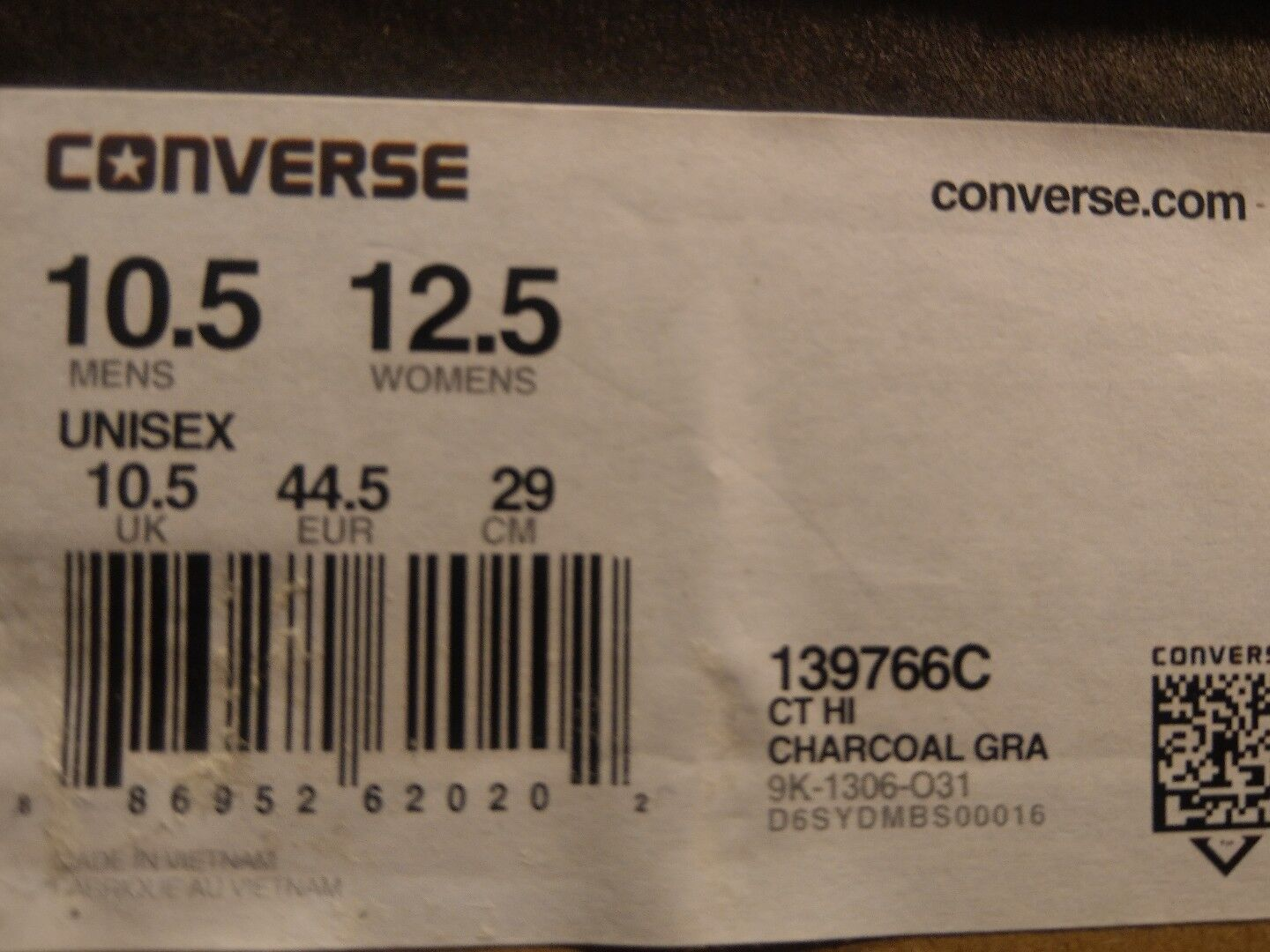 Converse Chuck Taylor High Top Flag Pattern Charcoal Grey Size 10.5 139766c New
