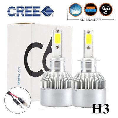 2x H3 1100W 159000LM LED Headlight Conversion Kit Fog Light Beam Bulb Lamp 6000K