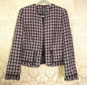 Mossimo Womens Black Tweed Houndstooth Office Jacket Blazer Black Pink Sz M