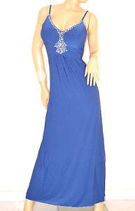 online store 358b9 973aa Dettagli su ABITO LUNGO BLU donna vestito strass da sera elegante cerimonia  damigella E135