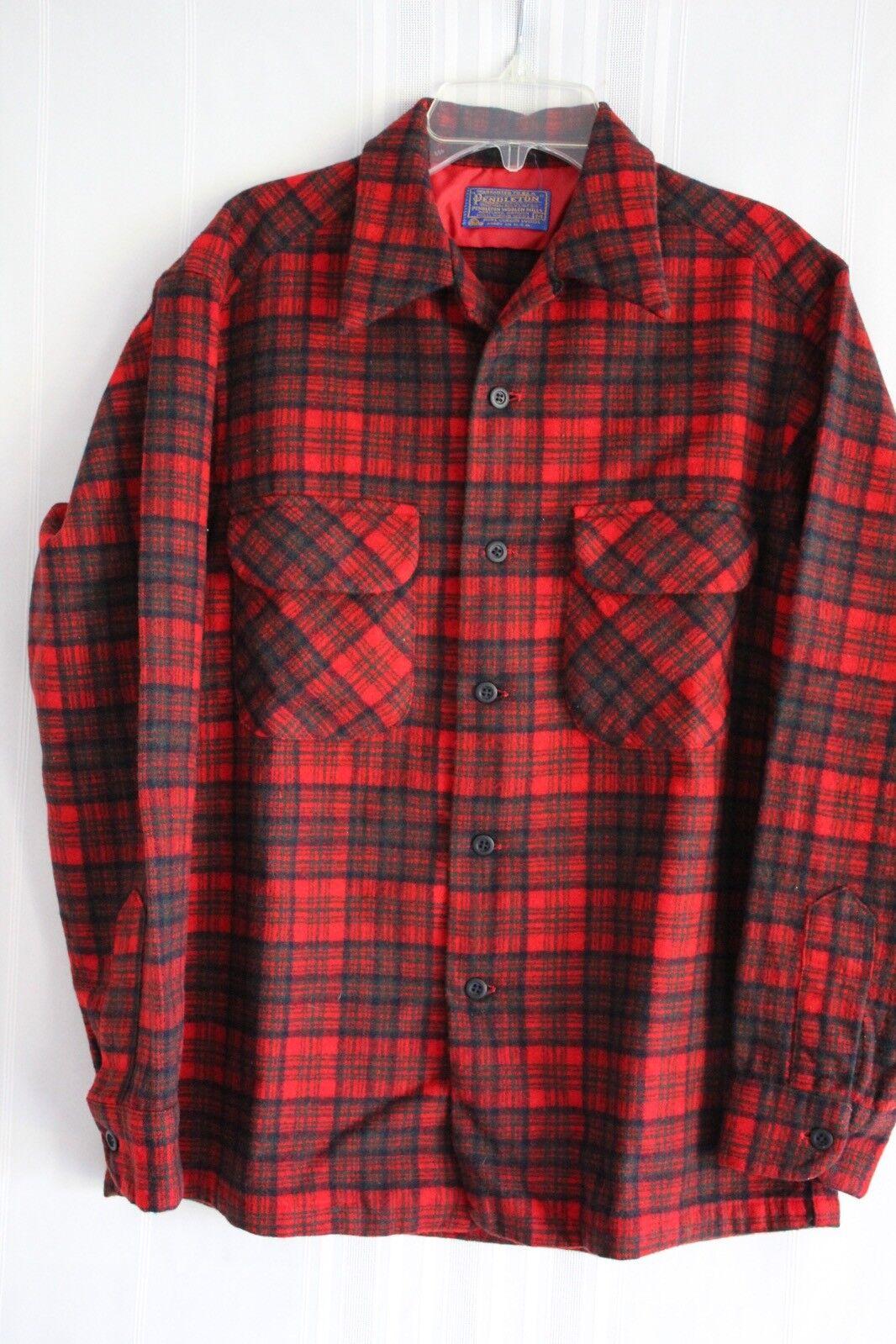 Vintage Pendleton Men's Plaid Loop Collar 100% Virgin Wool Board Shirt size M