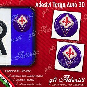 Ambitieux 2 Adesivi Stickers Bollino 3d Resinato Targa Auto Moto Fiorentina Calcio Demande DéPassant L'Offre