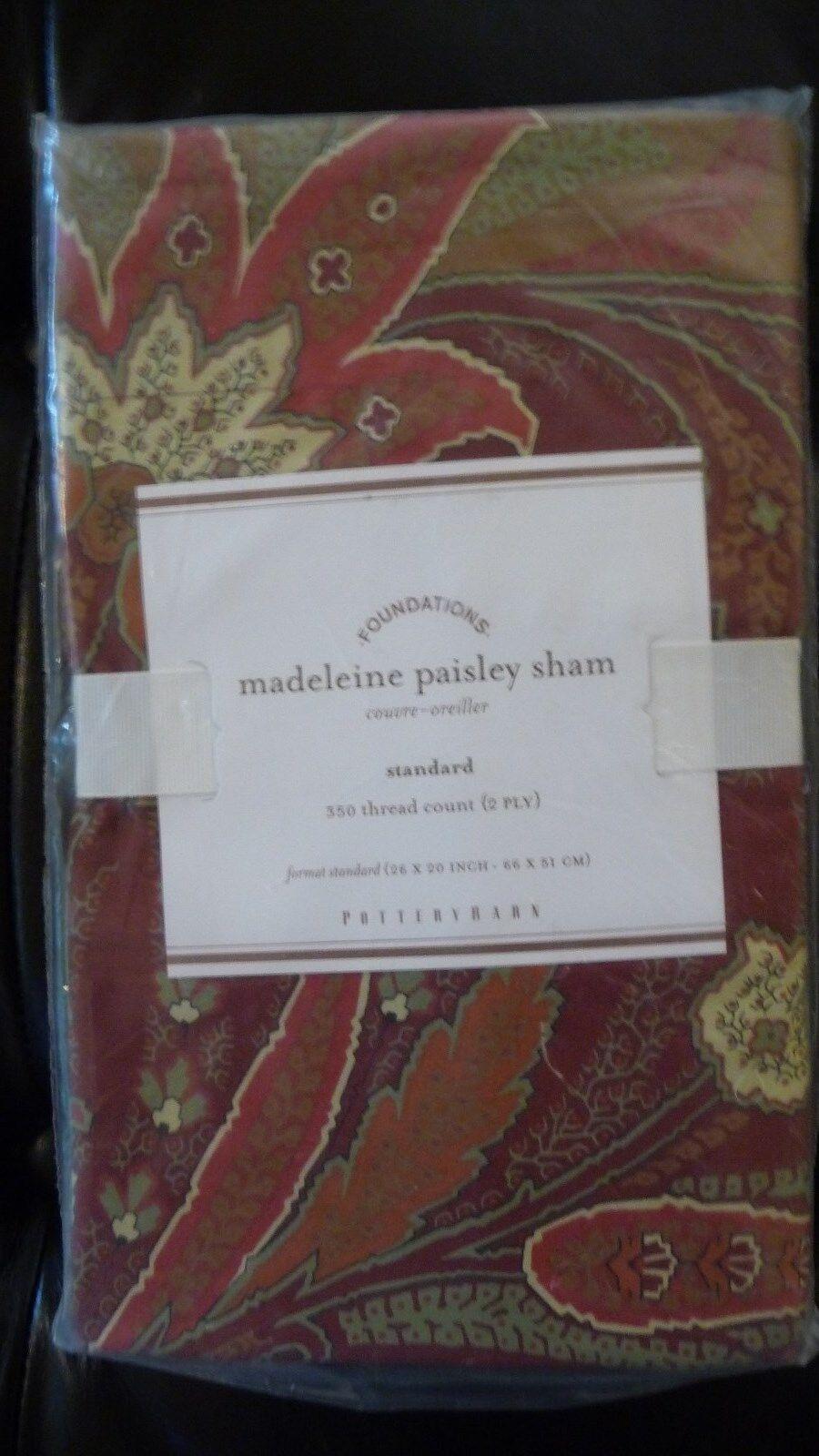 NEW Pottery Barn Madeleine Paisley Sham Standard Dark Red Pillow Cover