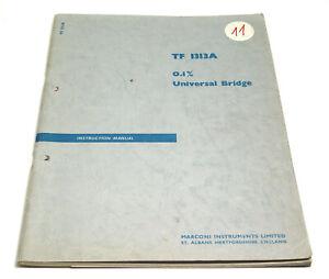 Complexé Marconi Tf 1313 A Universal Bridge Manual/lcr Mètre Service Manuel, Anglais-afficher Le Titre D'origine
