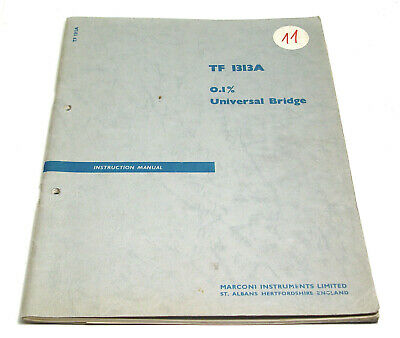 Marconi Tf 1313a Universal Bridge Manual / Lcr Meter Service Handbuch, Englisch
