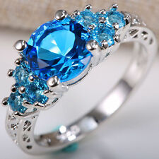 Fashion Women Jewelry 925 Silver Blue Topaz Wedding Propose Eternal Ring Size 8
