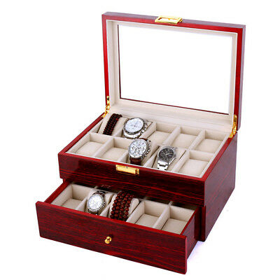 20 Grids Lacquer Wooden Watch Display Boxes Jewelry Organizer Collection Case OZ