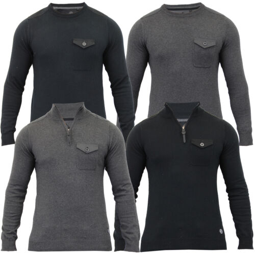 Mens Jumper Threadbare Knitted Top Sweater Pullover Patches Crew Funnel Neck New