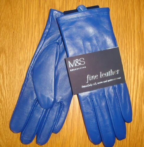 M L M/&S Collection Cobalt Leather Ladies Gloves Size S