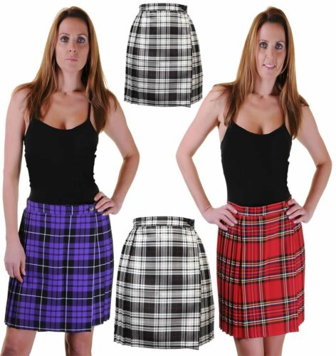 Womens Pleated Wrap Over Tartan Print Skirt Ladies Buttoned Kilt Scottish Skirt