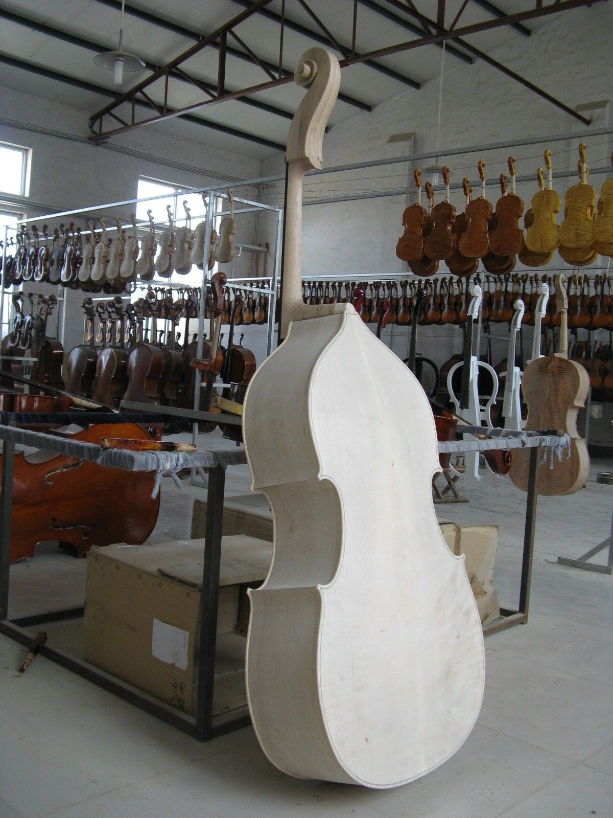3 4 White Unfinished Upright double bass Solid Maple Spruce wood Hand Made