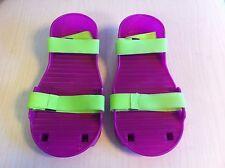 Vintage children's replacement Moon Shoes 1989 Purple Neon Green Plastic NEW NIP