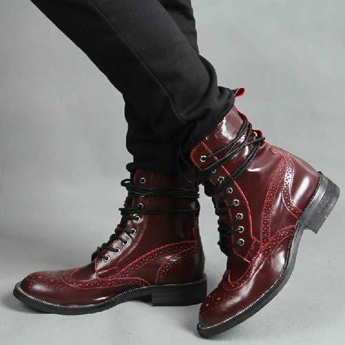 botas para hombre Hecho a Mano Charol Borgoña Brogue acordonados formal Zapatos de desgaste nuevo