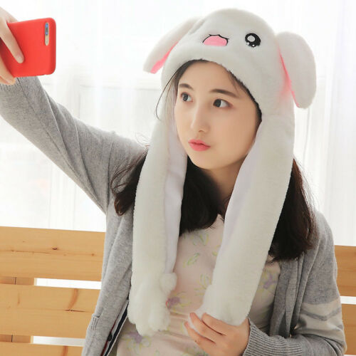 Tik Tok DouYin Rabbit Hat Ear Can Move When You Hold The Leg Funny Plush Hat Toy