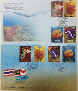 Malaysia-FDC-08-06-2015-2-pcs-Marine-Creatures-M-039-sia-Thailand-Joint-Issue