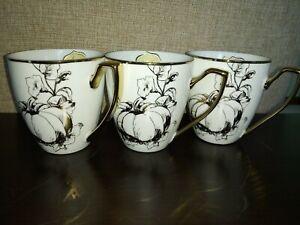 3-CIROA-LUXE-GOLD-BOTANICAL-FLORAL-PUMPKIN-THANKSGIVING-MUGS-CUPS-SET-3