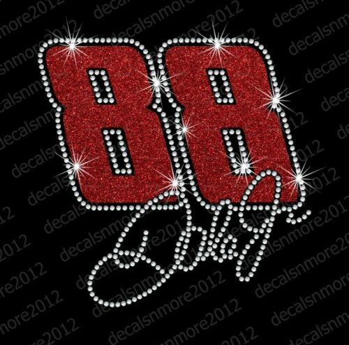 Bling Iron-on Glitter Vinyl /& Rhinestone Transfer NASCAR Jr Dale Earnhardt