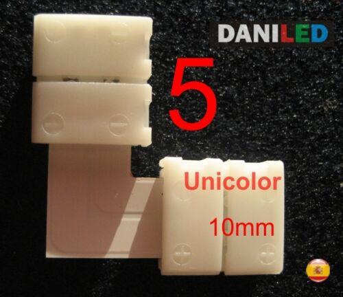 5 X CONECTORES EN /'/' L /'/' 2 PIN 10mm 90 GRADOS PARA TIRA LED SMD 5050 UNICOLOR
