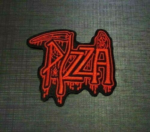 PIZZA SLICE CHEESE biker CARTOON SKULL FOOD Embroidered Iron Sew On Patch Logo