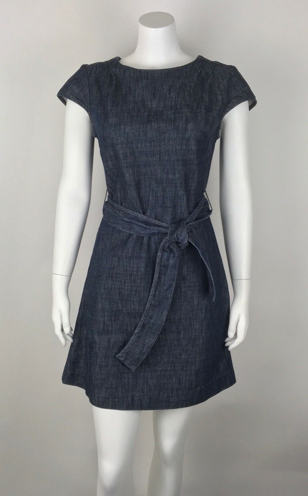 Orla Kiely Women's Dress Belted Sz 2 Cap Sleeve Work Career Denim Look Cotton
