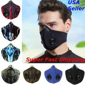 Face Mask Reusable Cycling Cover Sport Dual Air Valves w Activated Carbon Filter