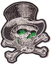 SKULL AND CROSS BONES W HAT & GREEN EYES  PATCH #9340 hat jacket biker iron on