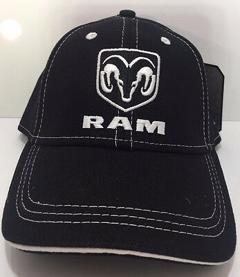 Ram Truck Emblem New Logo Hat Cap Brushed Black White HEMI MOPAR Dodge Pickup