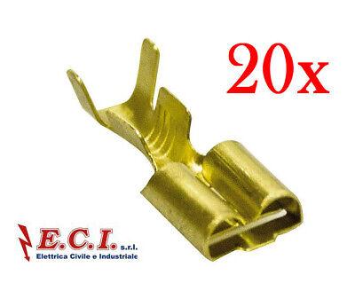 20 pezzi 38.2000016 FASTON FEMMINA 4,8mm ISOL.ROSS