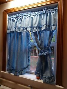 Country Ruffled Curtains W Tie Backs Blue 39x28 Sears Perma Prest Ebay